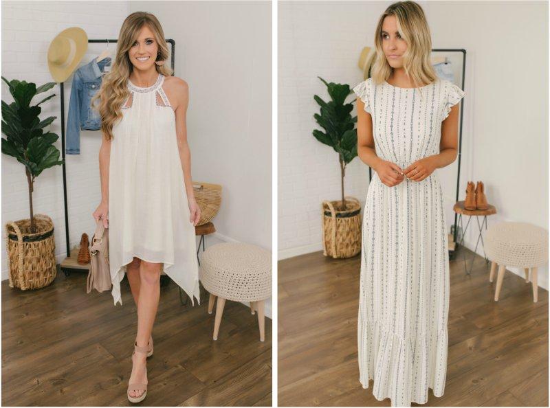 white cutout dress and printed maxi