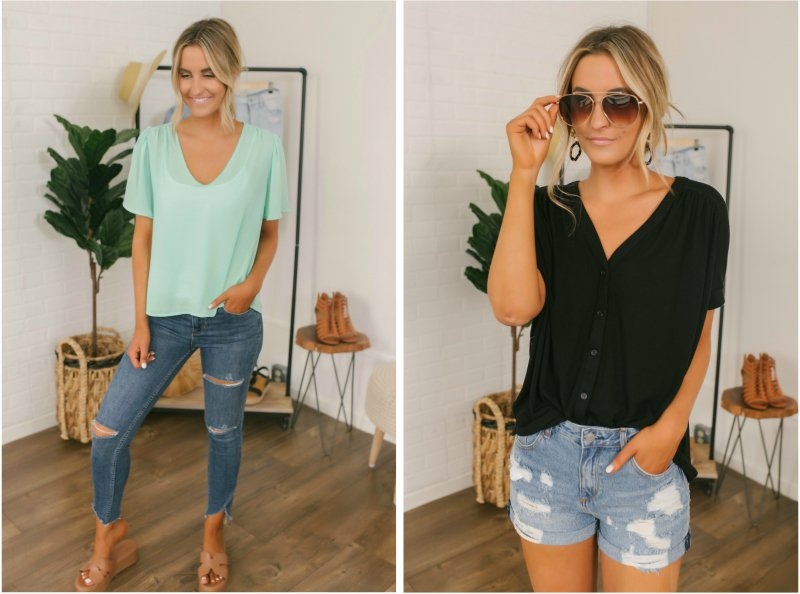 mint and black tees