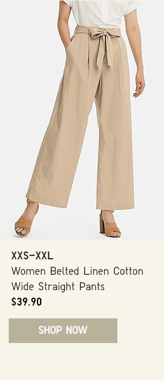 BODY2 CTA3 - WOMEN BELTED LINEN COTTON WIDE STRAIGHT PANTS