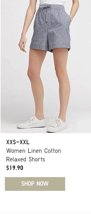 BODY1 CTA3 - WOMEN LINEN COTTON RELAXED SHORTS