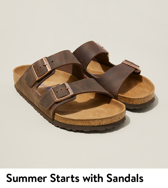 Summer starts with men's sandals from Birkenstock and more.