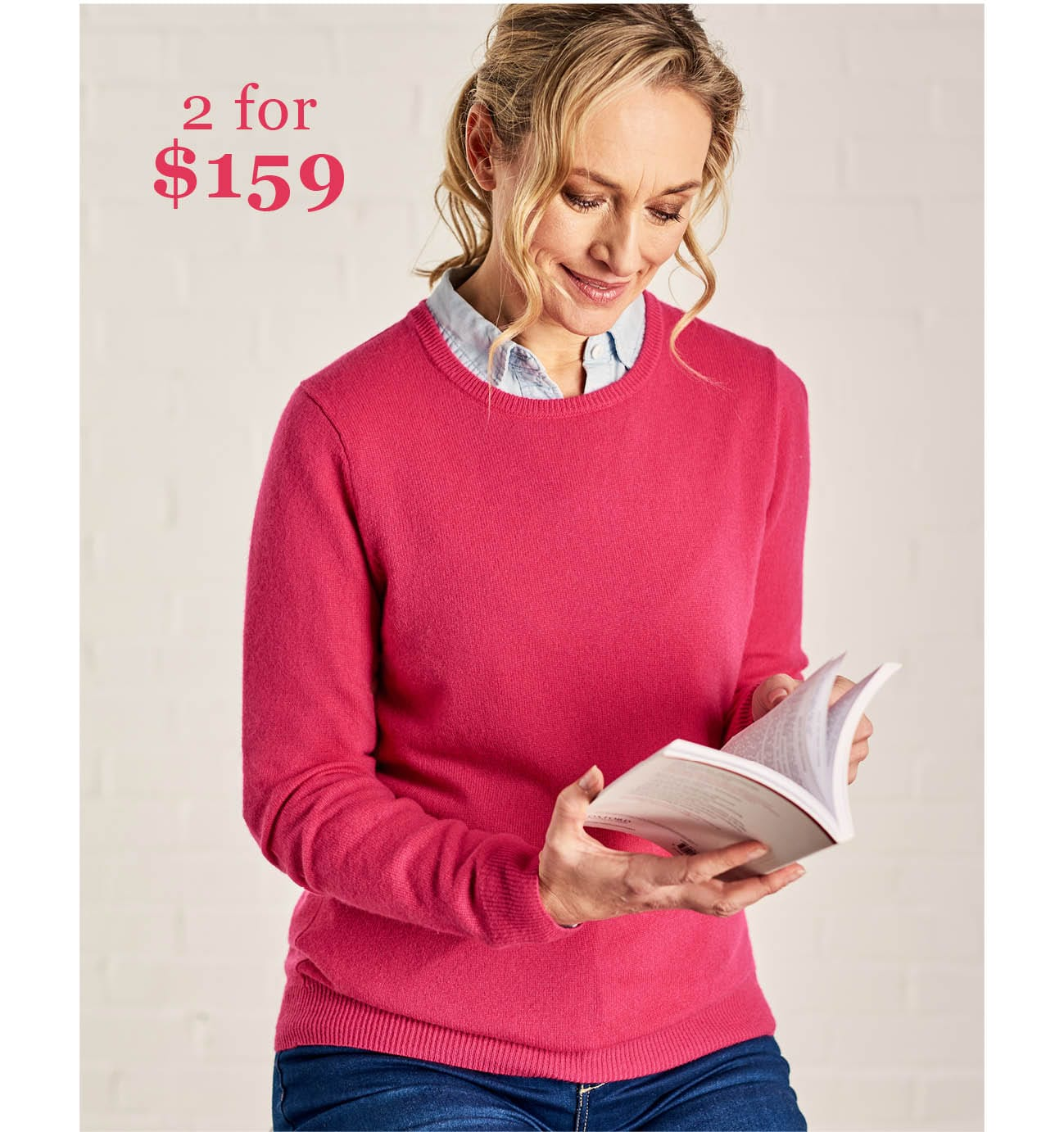 Womens Cashmere and Merino Crew Neck Knitted Jumper in Fuchsia Pink