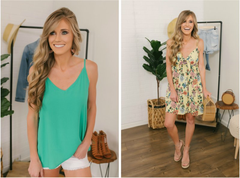 green tank and yellow floral dress