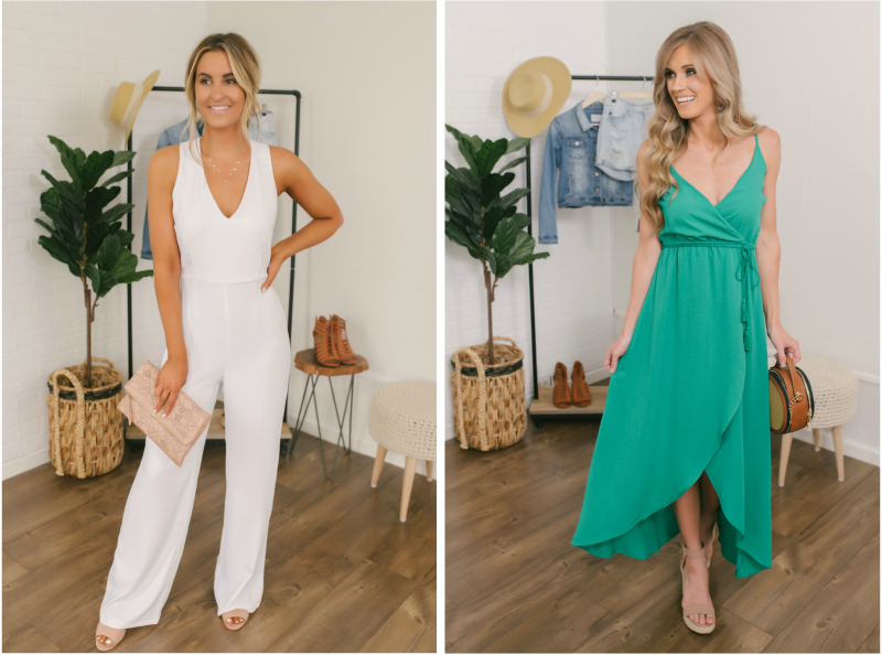 white jumpsuit and green dress