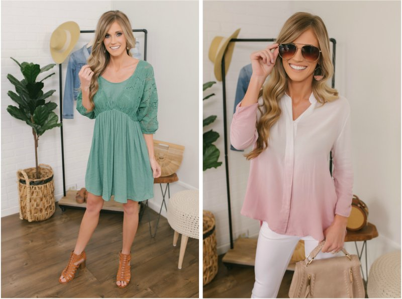 sage green dress and ombre top