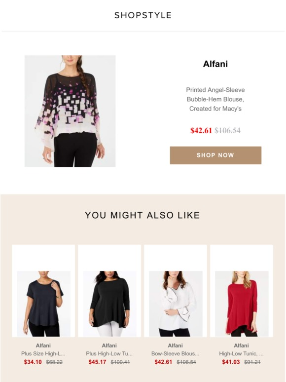 d85ba3bb9 G1 Winter Proof: Sale Alert: Printed Angel-Sleeve Bubble-Hem Blouse,  Created for Macy's | Milled