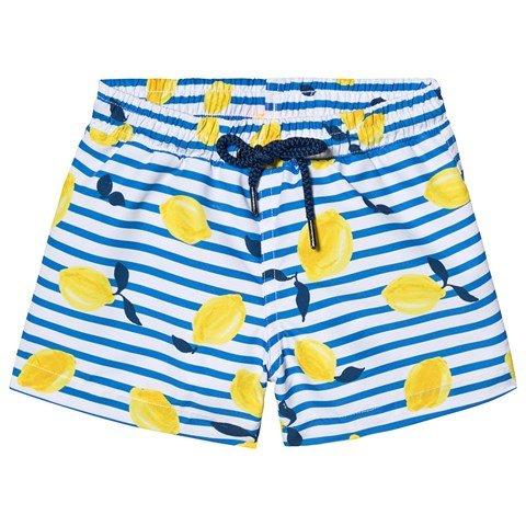 Sunuva  Blue Sicilian Lemon Stripe Swim Shorts