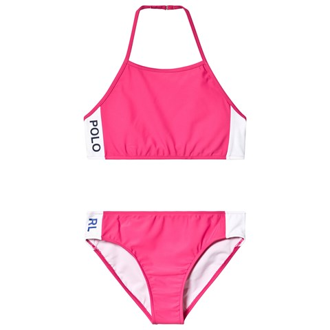 Ralph Lauren Pink Polo Logo Bandeau Bikin