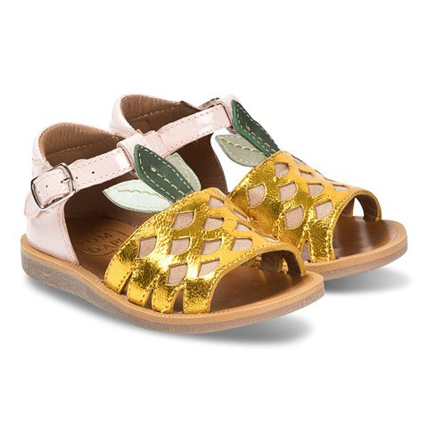 Pom D'api Gold and Pink Patent Pineapple Leather Sandals
