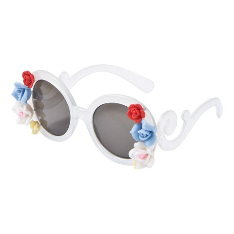 Monnalisa White 3D Flower Round Sunglasses with Case