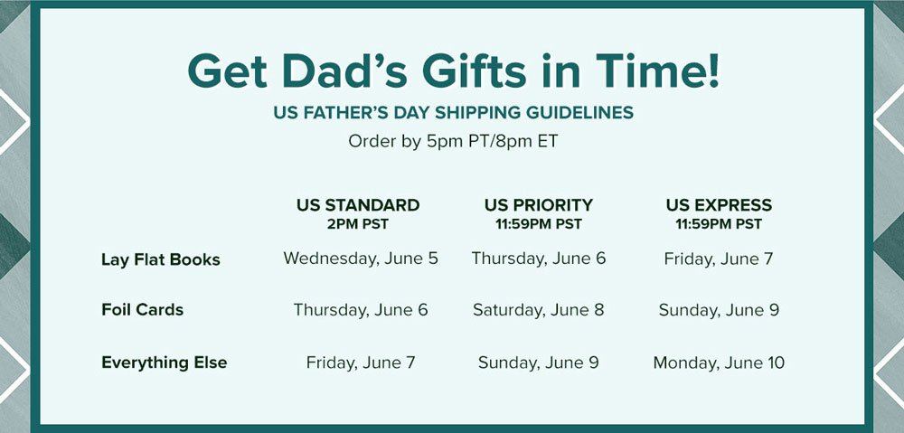 Get it by Father's Day! US Shipping Guidelines