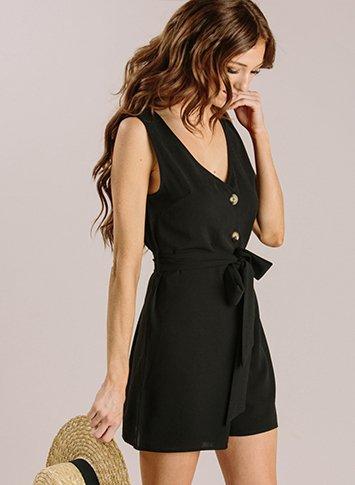 Arielle Black Sleeveless Button Romper