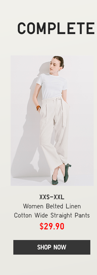 BODY4 CTA1 - WOMEN BELTED LINEN COTTON WIDE STRAIGHT PANTS