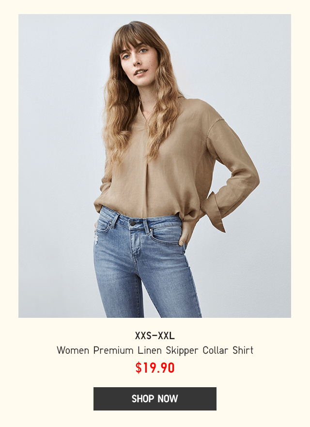 BODY1 - WOMEN PREMIUM LINEN SKIPPER COLLAR SHIRT