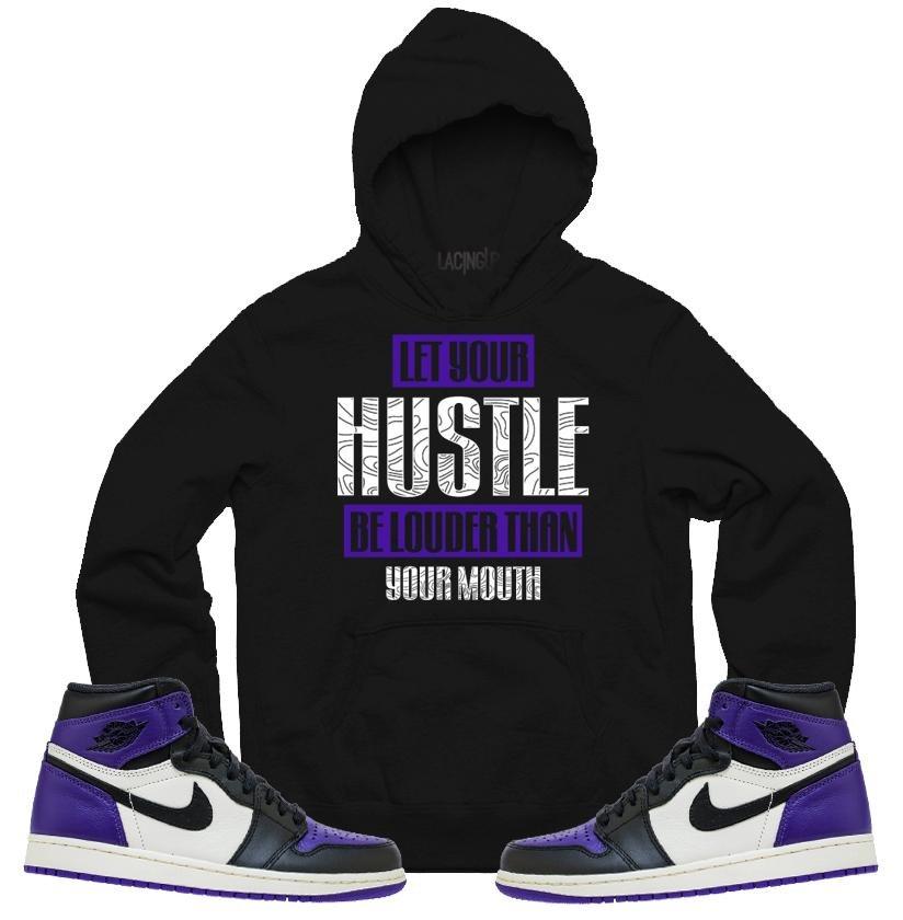 9f62428637d Jordan 1 court purple hustle black hoodie-Lacing Up