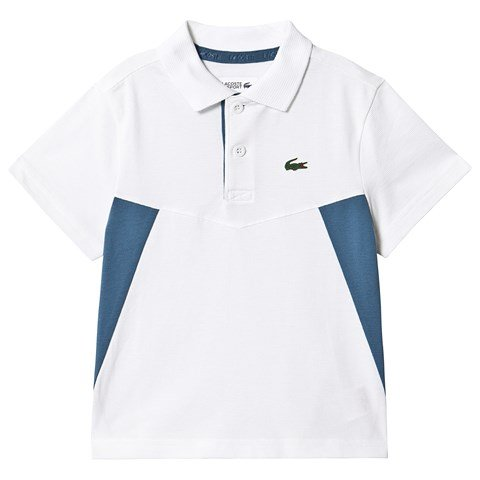 Lacoste White & Blue Panel Ribbed Collar Super Light Tennis Polo