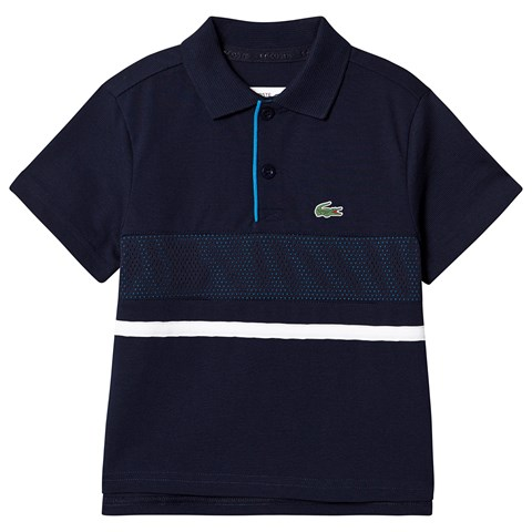 Lacoste Grey & Blue Panel Mesh Ribbed Collar Super Light Tennis Polo