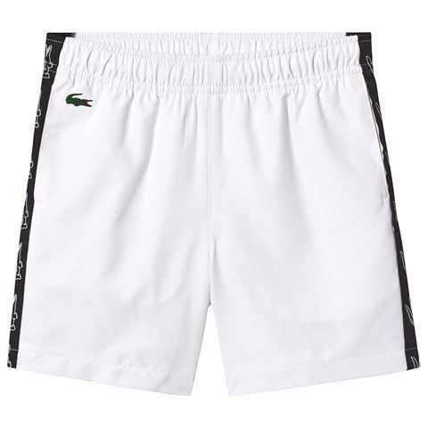 Lacoste White Diamond Weave Taffeta Tennis Shorts