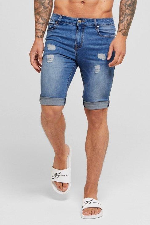 Blue Destroyed Denim Shorts