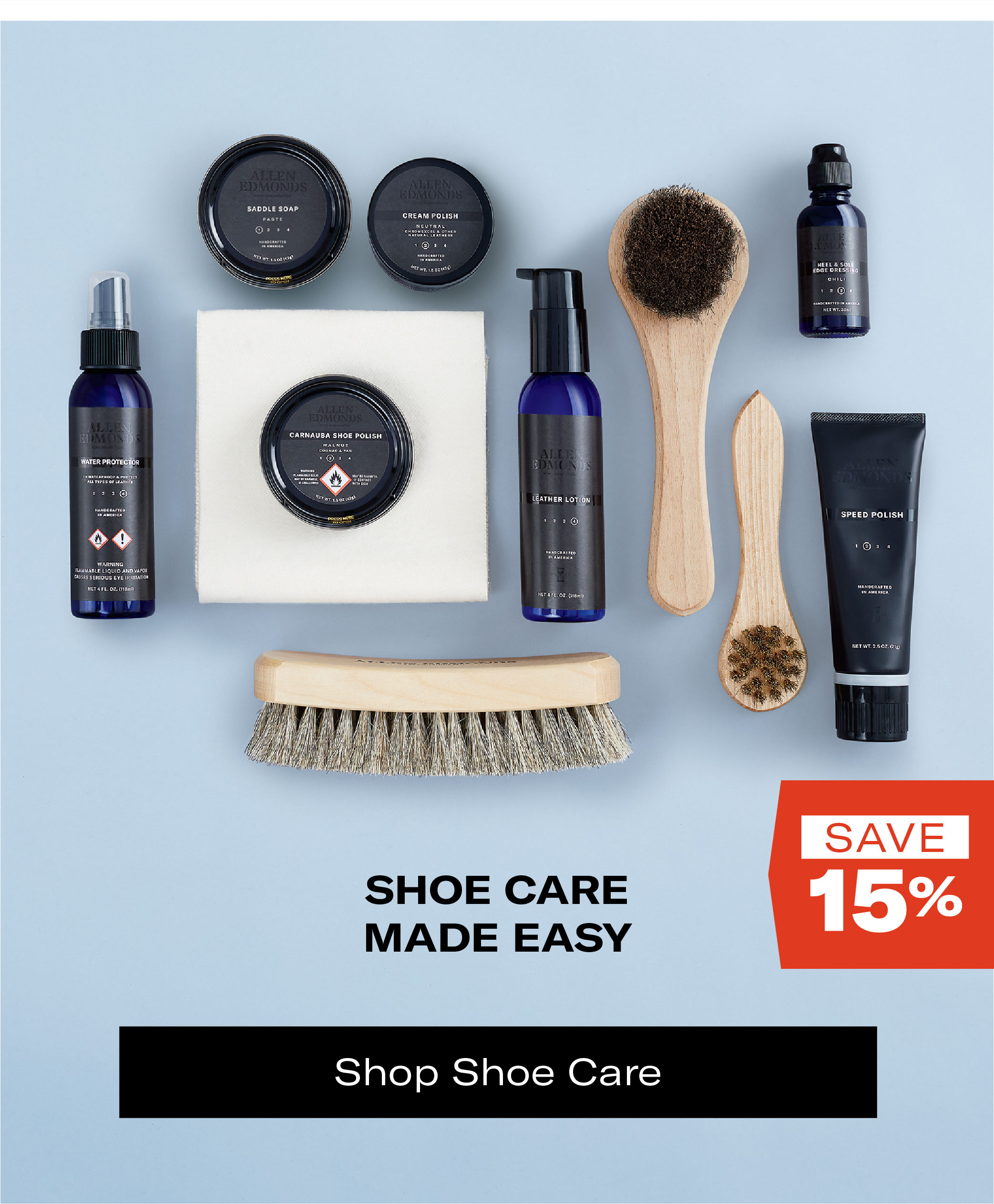 Save 15% on Shoe Care