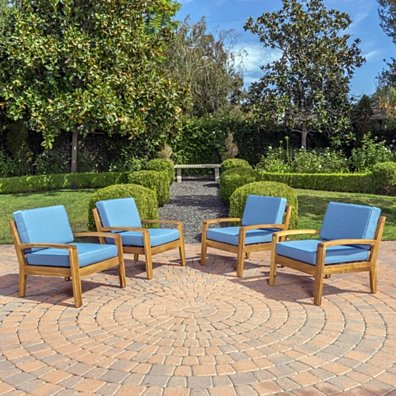 Parma Outdoor Wood Patio Furniture Club Chairs w/ Water Resistant Cushions (Set of 4)
