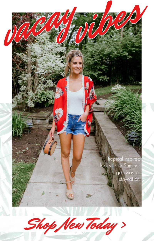 vacay vibes red kimono