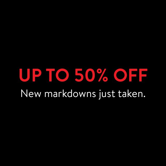 Up to 50% off men's clothing, shoes and accessories.