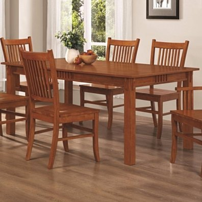 Traditional Mission Style Wooden Dining Table, Brown