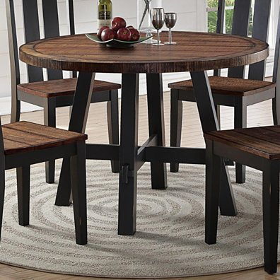 Cottage Style Round Wooden Dining Table Brown