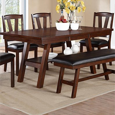 Solid Wood Dark Walnut Brown Dining Table