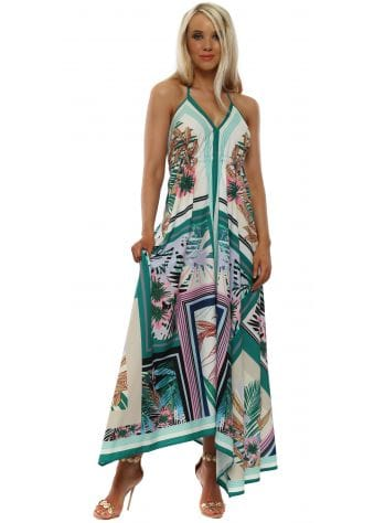 Green Floral Print Halter Neck Maxi Dress