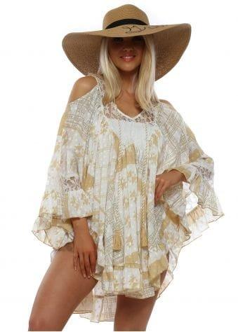 Beige Cotton & Lace Beach Tunic
