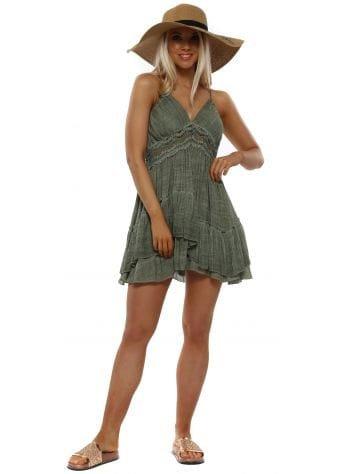 Khaki Crochet Open Back Summer Dress