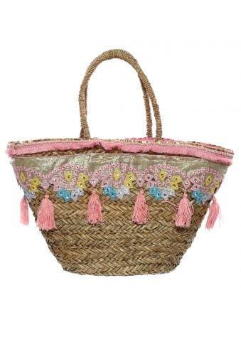 Pink Tassel Embroidered Basket Bag