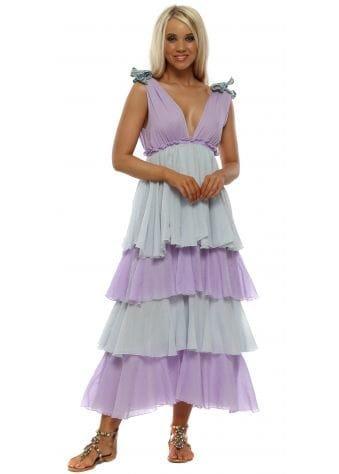 Alma Orchid & Artic Ice Ruffle Layered Dress
