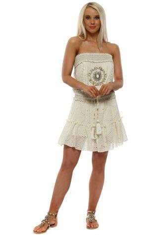 Cream Broderie Anglaise Crystal Boobtube Dress