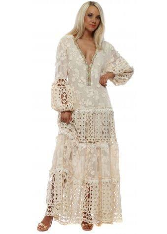 Beige Floral Applique Lace Maxi Dress