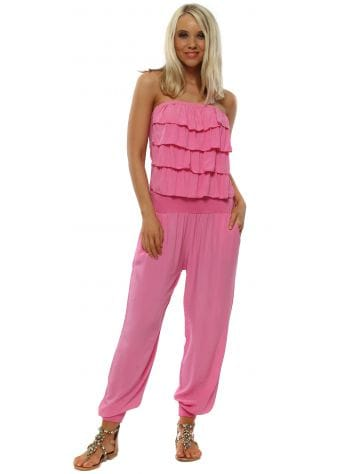 Hot Pink Jersey Frill Bandeau Jumpsuit