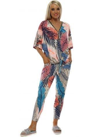 Blue Palm Print Co-Ord Set