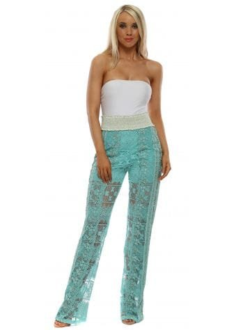 Turquoise Lace Beaded Straight Leg Trousers