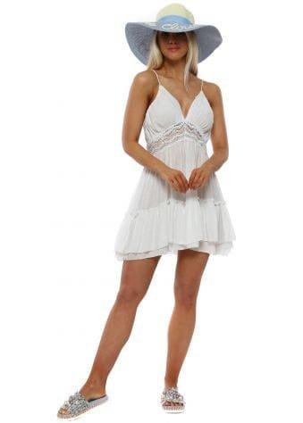 White Crochet Open Back Summer Dress