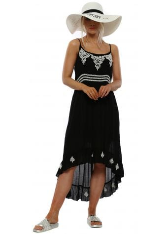 Black Cotton Circle Embroidered Sun Dress