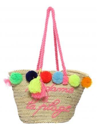 Multicolour Pom Pom Logo Beach Basket