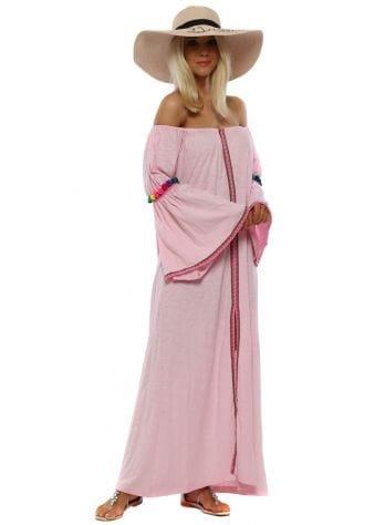 Pink Gypsy Pom Pom Maxi Dress