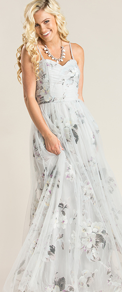 Ellen Grey Floral Tulle Maxi Dress