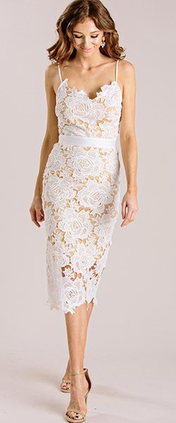 Larissa White Lace Bodycon Dress