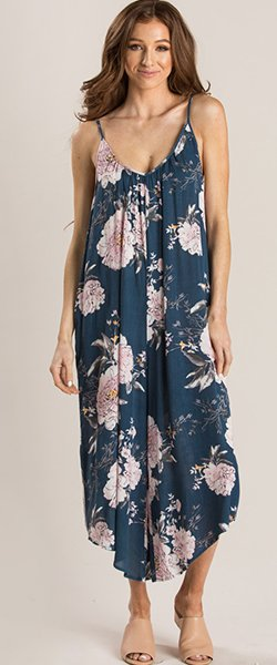 Elina Blue Floral Relaxed Jumpsuit