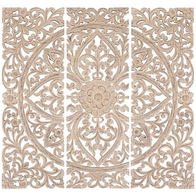 Benzara Floral Hand Carved Wooden Wall Plaque, Set of three, Antique White