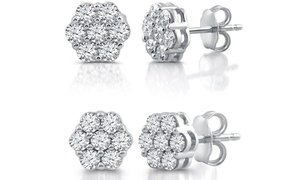 1/2 or 1 CTTW Diamond Composite Stud Earrings In Sterling Silver