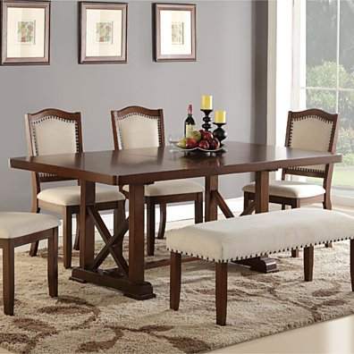 Rectangular Wooden Dining Table, Brown